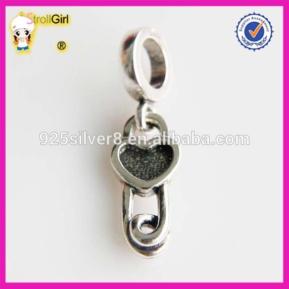 925 sterling silver University Customised Charm Paper Clip charm Beads
