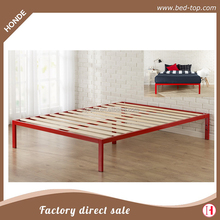 Modern Single Queen Metal Frame Wooden Slats Platform Bed Frame Y