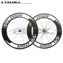 Velosa logo Straight Pull 88mm Clincher Road Carbon Bike wheels Racing Bicycle carbon Wheelset Powerway R51 Hubs fast shipping!
