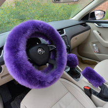 High quality wool winter steering wheel cover gear shift lever cover