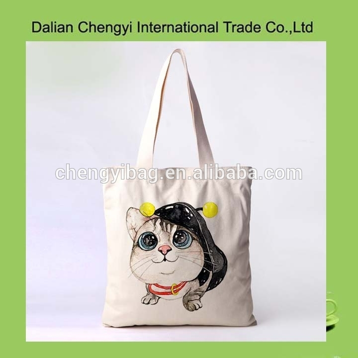 Popular cute cat hand painting customize canvas girls college tote bag