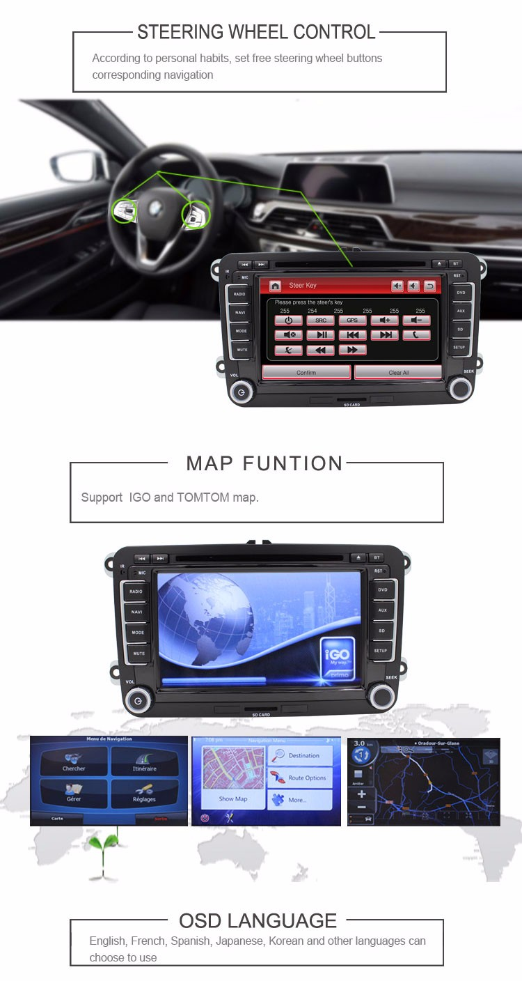 Car DVD player Entertainment Multimedia System PASSAT B6 POLO Golf Gps Navigation Reversing Camera Free map BT
