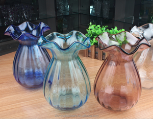 Wholesale handmade mouth blown glassware colorful clear glass vase