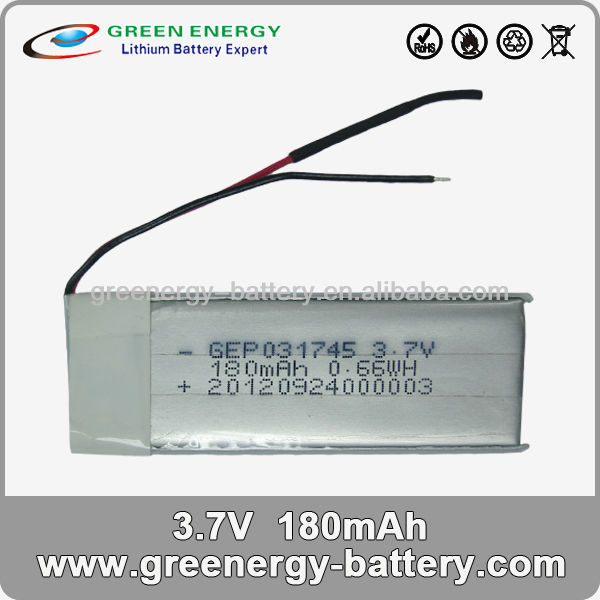 3.7v small rechargeable battery GEP031745 li-polymer battery / cell battery