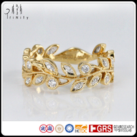 Real 14K 18K Yellow Gold Olive Leafs Ring American Diamond Jewellery