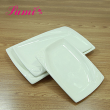 Wholesale hotel restaurant white porcelain embossed flat sushi diet closeout plate