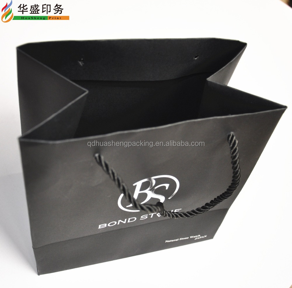 Real factory fashion design custom luxury foil logo matt black bag with silver logo