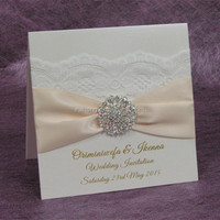 lace brooch luxurious fold Wedding Invitations