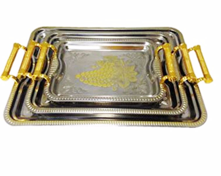 wholesale Designer Stainless Steel Rectangular Food Serving Tray decorative