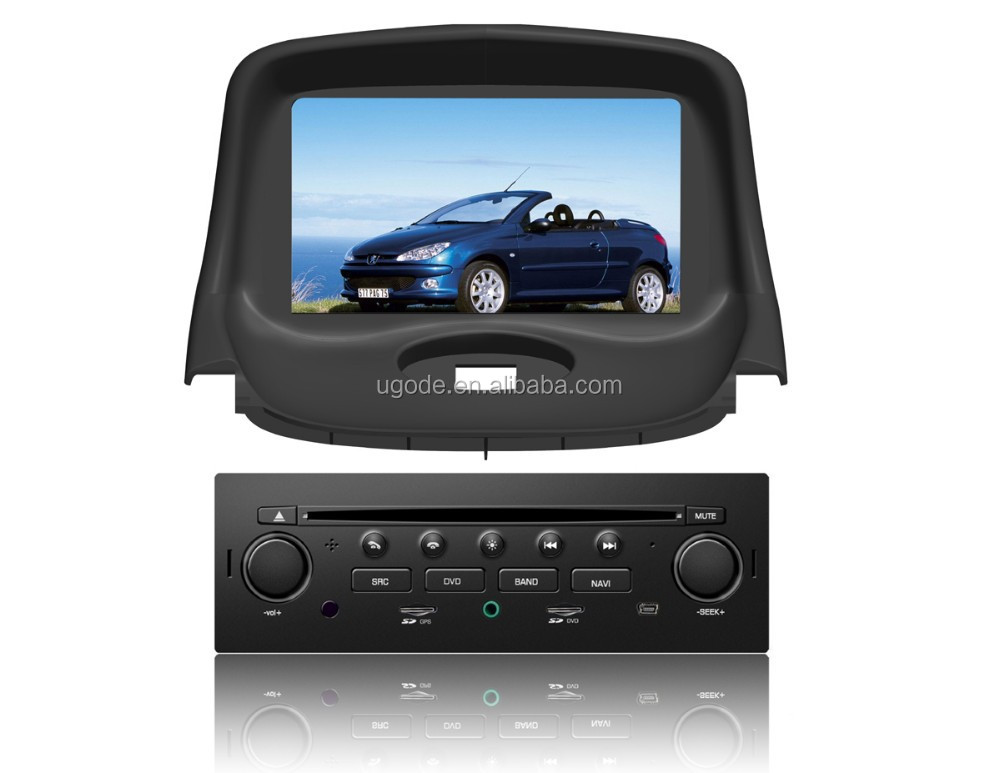 ugode touch screen double din dvd car audio navigation system for Peugeot 206