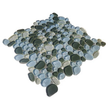 Blue round pattern glass mosaic swimming pool glass tile