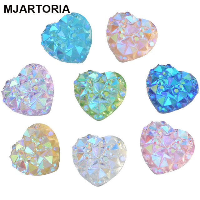 100PCs Mini AB Color Resin Rhinestone Cabochon Fit DIY Jewelry Settings Flatback Base Love Heart Scrapbooking Decor 9.5mm