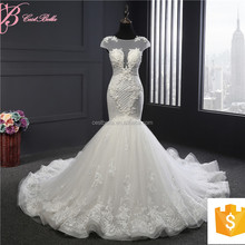 Alibaba Sexy See Through Embroided Lace Wedding Dress Bridal With Long Train
