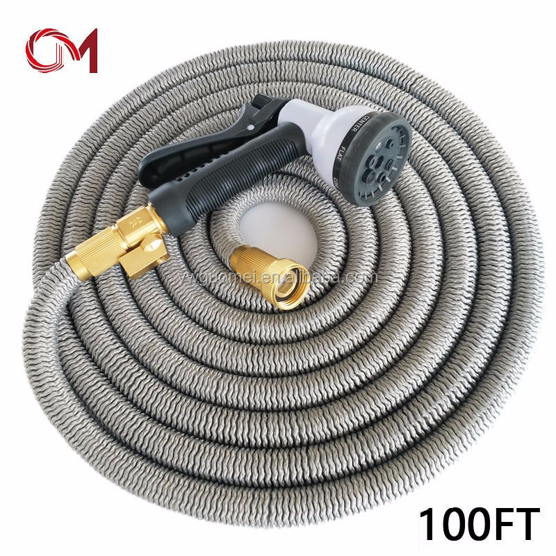 Extensive water reel collapsible hoses flexible watering hose brass fitting expandable fabric garden hose bib
