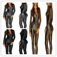 walson leather catsuit for woman romper zipper