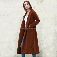 Fashion wide lapel design long brown wool coat for women