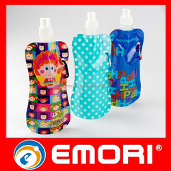 High quality Spill-proof bag customized reusable 480ml water bag with clip hook