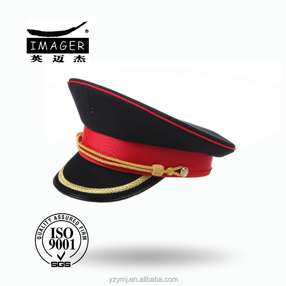 Marine Corps Uniform Cap with Red Strap and Gold Embroidery for Military Supply