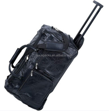 "Genuine Leather 21"" Rolling Duffle Bag, Mens Carry-On Luggage Trolley Suitcase"