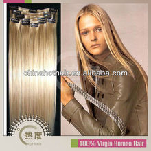 2013 cheapest malaysian clip in hair mini clip in extension orange clip in hair extension