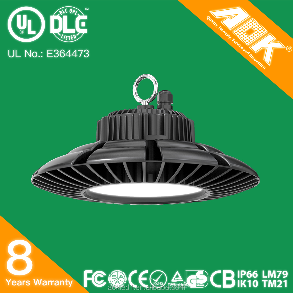 ISO certified manufacturer UL DLC premium listed aluminum ip65 waterproof AOK 150w UFO LED high bay light