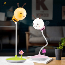 2018 Cute Bee LED Night Light Creative Timed Sleeping Lamp Cartoon Bedside Night Light Touch Dimming USB Home Decoration Light
