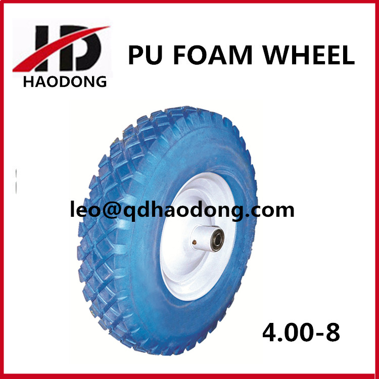 High quality solid 4.00-8 plastic wheelbarrow pu foam rubber wheel