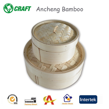 2016 kitchen natural bamboo steamer 10 inch Set