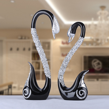 new design household decorative polyresin couple swan ornaments