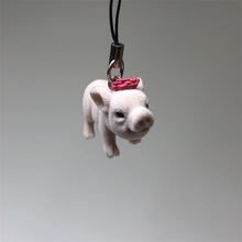 High Quality PVC Pig Pendent Flocked Animals Toy For Phone