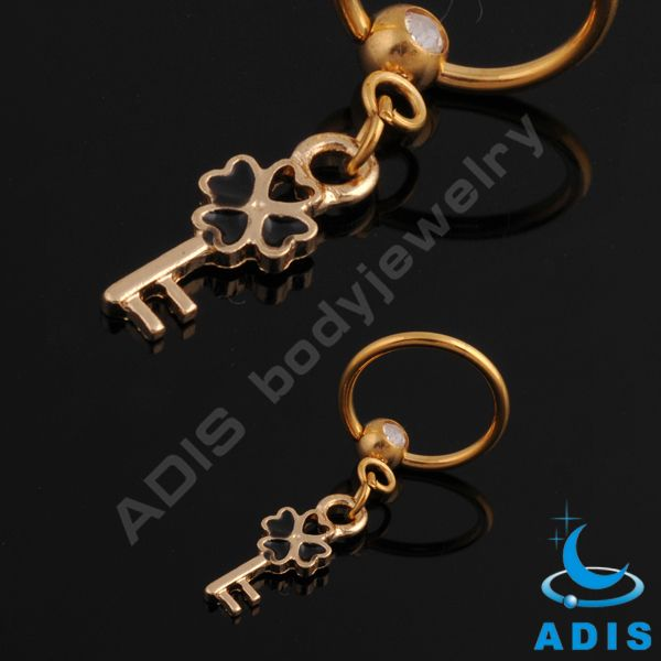 Gold Dangle key chain captive bead rings ball closure rings (BCR) nose ring