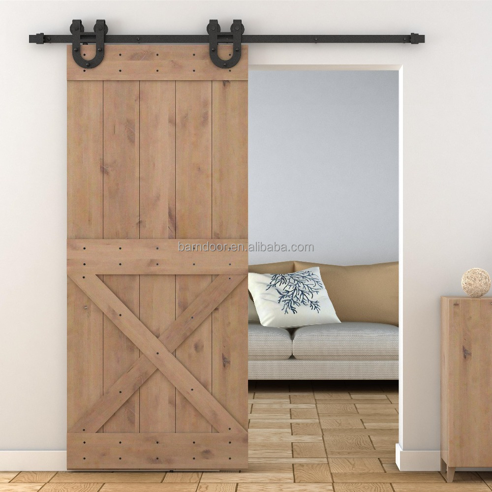 X Design Solid Wood Pine Barn Doors And Black Carbon Steel Sliding Hardware  Kits