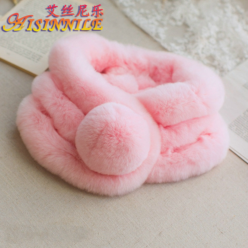 Fashion High Quality Handmade Winter Cape Real Genuine Rex Rabbit Fur Scarf with fur pompom