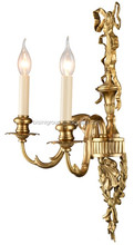 Victoria 2 Lamp Antique Brass Wall Light For Bedroom, Vintage Brass Sconce of Candle Shaped Lights BF11-06291e