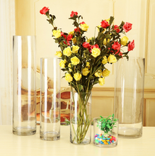 Haonai hand blown glass vase,crystal flower vase,cylinder glass vase for wedding and home decoration.