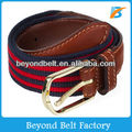 Striped Polyester Canvas Belt with Real Leather Tab and Alloy Pin Buckle