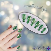 Free samples metallic colored acrylic artificial nail tips christmas decoration full cover color manicure fake nail tips