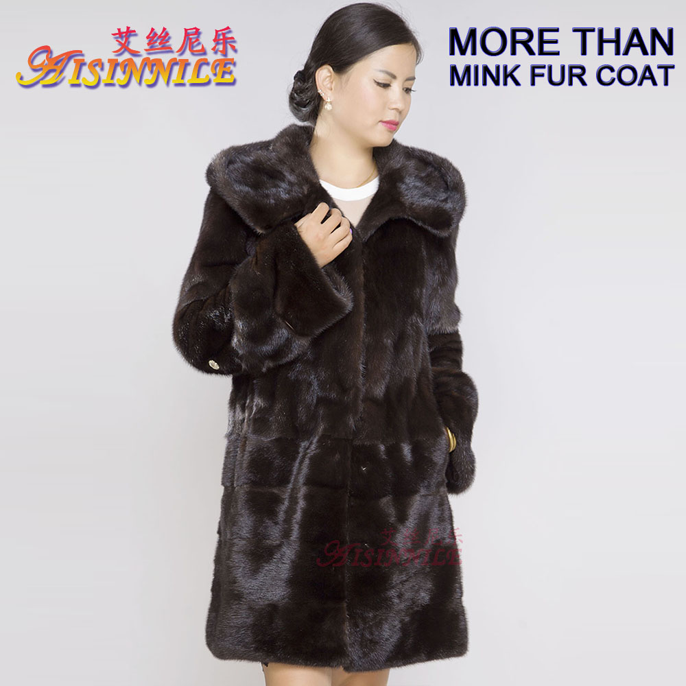 Fashion Genuine Natural Mahogany Mink Fur Coat for Women Walking Jacket with Crosscut Swing