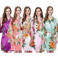 FUNG 3017 Customized Silk Floral Kimono Bridesmaid Bathrobes