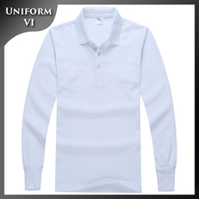 Make your company own winter long sleeve white men's uniform polo t-shirt 100% cotton with embroidery