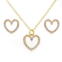Gold plated jewelry cubic zirconia heart earring necklace 925 sterling silver jewelry