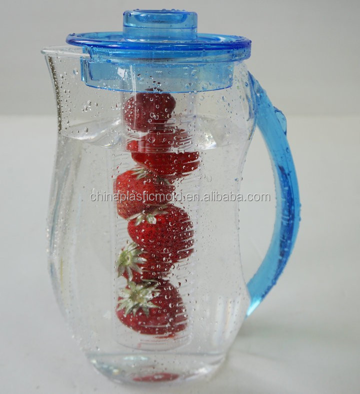 2L acrylic plastic fruit infuser water pitcher
