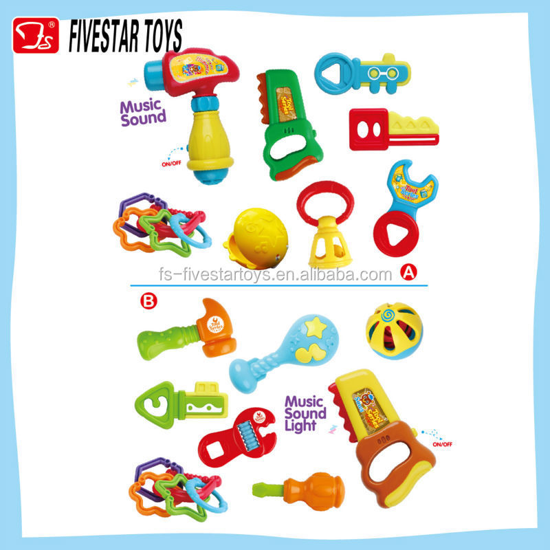 Funny 12 pieces tool toy shaking baby rattle with music and sound