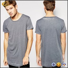 2015 wholesale fashion Long Line Burnout scoop neck solid color men t shirt