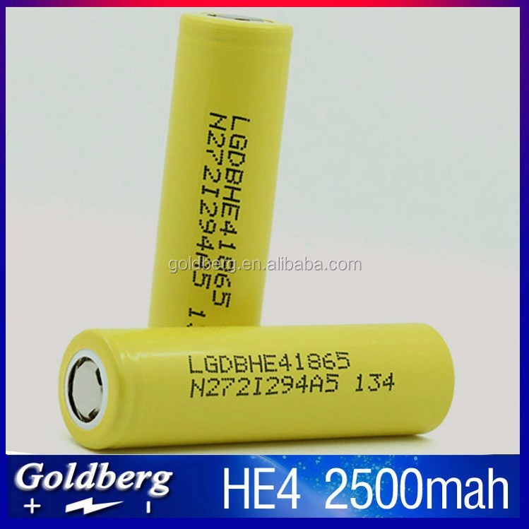 Original LG he4 18650 Battery 3.6V 2500mAh 20A 35A high drain LG HE4 / lg 18650 he4 battery cigarette power tools