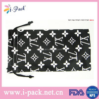 Customized logo printing microfiber pouch with drawstring