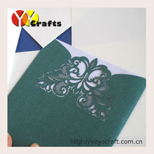 Customized envelope style Laser cut latest wedding card designs various colors and designs wholesale and retail