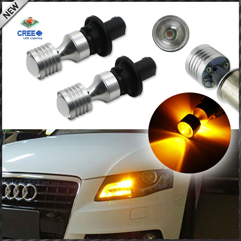 Amber Yellow Error Free PH24WY SPH24 12272 LED Bulbs For Audi Cadillac GMC,etc For Front Turn Signal Lights