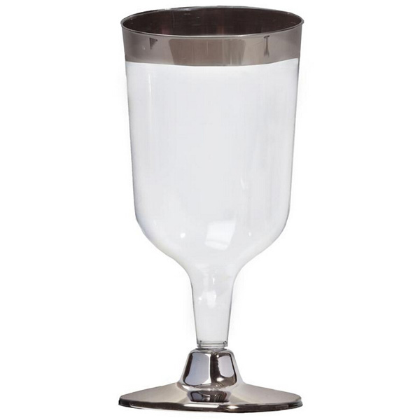 Disposable Silver Rimmed Plastic Wine Glass drinkware