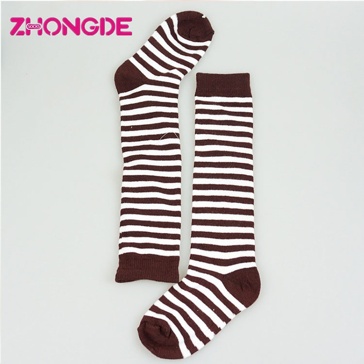 Eco-Friendly striped cotton knee socks toddler ribbed
